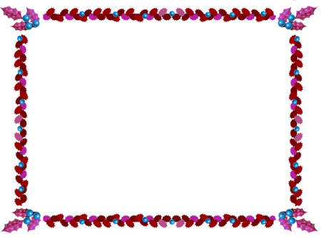 holly christmas border in red and blue Stock Photo - 1615287