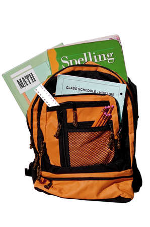 bookbag: bookbag full of books and other supplies for school Stock Photo