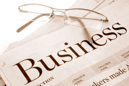 business section of newspaper Stock Photo