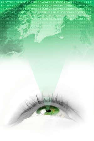 parpados: los ojos verdes flotantes proyectar el medio ambiente mundial y es n�mero  Foto de archivo