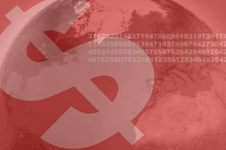 data: money symbol,  binary data and world data background