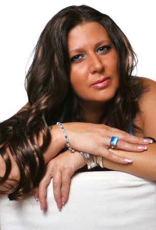 beautiful glamorous blue eyed brunette woman with blue stoned jewelry Stock Photo - 1806951