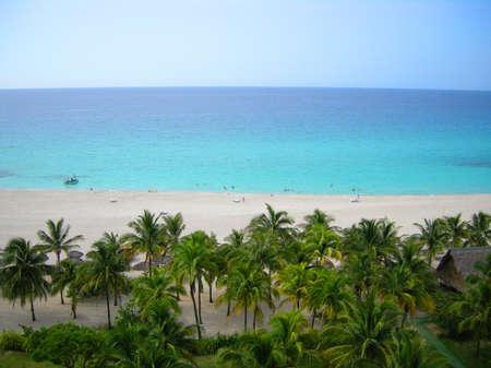 varadero: Overhead view of tropical Varadero beach in Cuba Stock Photo