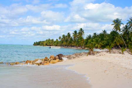 bathers: Seona Isola tropicale spiaggia con barche, le palme ed il sole bagnanti