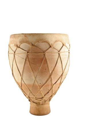 decorative musical  african  bongo drum on white background