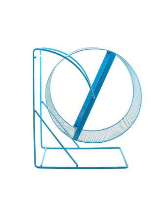 exersice: blue hamster or guinea pig wheel on white background