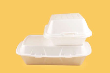 takeout: two different sized takeout styrofoam food containers