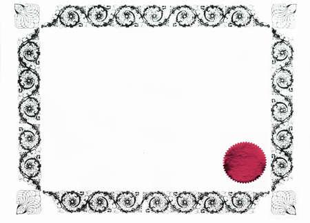 reconocimiento: frontera g�tica del certificado y estampilla roja, en blanco para el texto