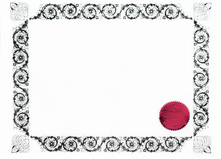 acknowledgement: gothic certificate border and red stamp, blank for text