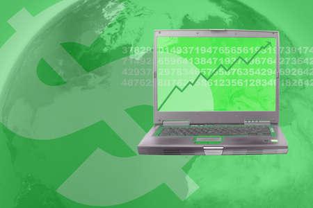 sumas: ordenador que muestra el aumento de existencias en el mundo empresarial en verde  Foto de archivo