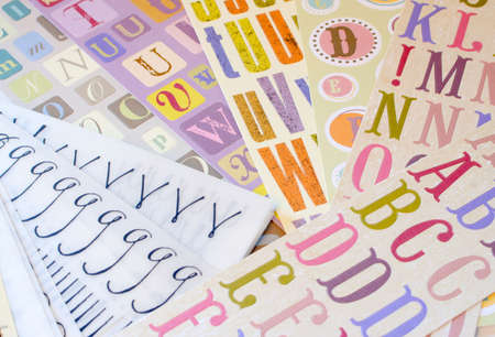 different types of font alphabet stickers for scrapbooking Stock Photo - 3085108