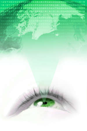 sight seeing: floating  green eye projecting the world and its numbers