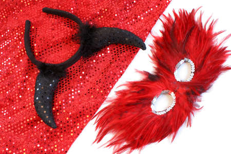 appropriate: glamorous costume with sequins and feathers appropriate for halloween or a masquerade