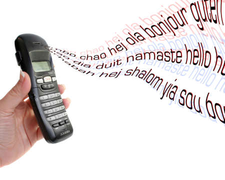 the word hello in different languages coming out of a land line phone as long distance calling