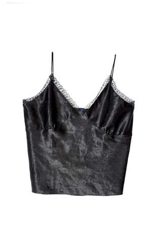 undergarment: a black silky sexy camisole with lace  Stock Photo