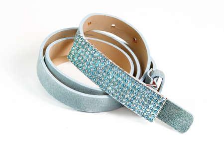 Brillant, ceinture à la mode en cuir suède avec boucle strass bleu Banque d'images - 3331963