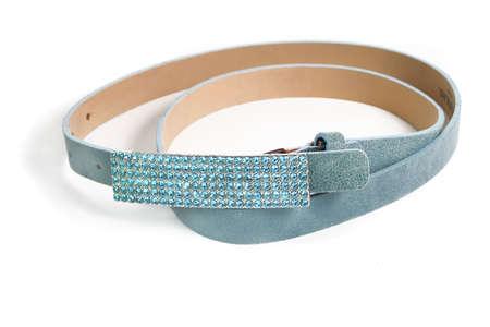 Ceinture sparkly, à la mode en Suède en cuir avec boucle strass bleu Banque d'images - 3331965