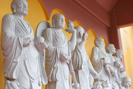buddhist temple with different buddha statue with colorful architecture Stock fotó