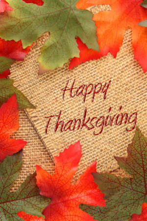 fall background with green and oranges leaves covering twin rope paper saying Happy Thanksgiving photo