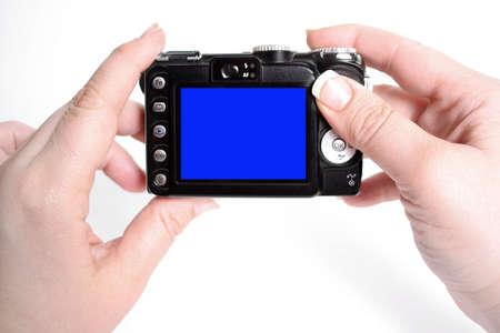 Tenere le mani della donna fotocamera con schermo vuoto, tenendo istantanea immagini Archivio Fotografico - 3581861