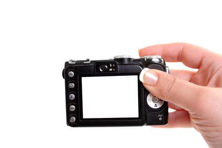 Donna tenere le mani fotocamera con schermo vuoto, tenendo snapshot di immagini Archivio Fotografico - 3581858