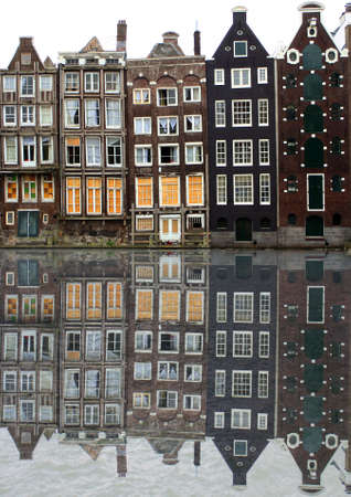 houses along an Amsterdam canal Stock Photo