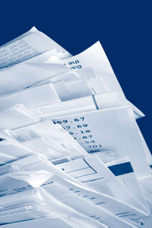 monthly: a stack of due  monthly bill payments in blue tones