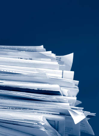 due: a stack of due  monthly bill payments in blue tones
