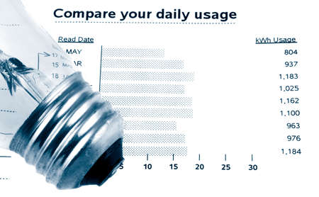 stating: lightbulb on electricity bill stating watt usage chart in blue tone Stock Photo