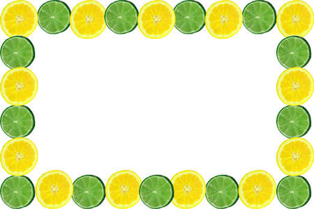 limes: lemons and lime slice frame or border Stock Photo