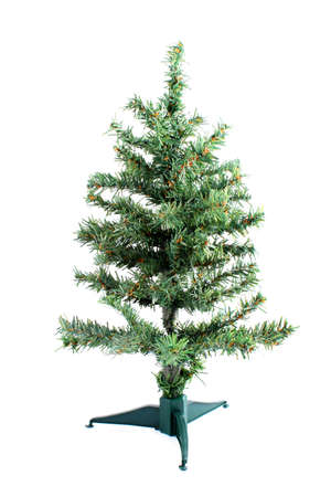 fake christmas tree: small fake green christmas tree waiting to be decorated on a white background Stock Photo