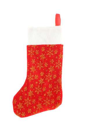 stuffer: festive christmas stocking with gold stars hanging isolated on a white background