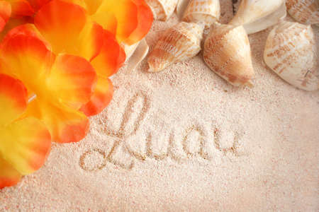 hawaiian beach background with the words luau on the  tropical sand with seashells and a lei