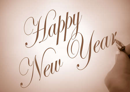 person writing: illustration of person writing happy new year  in calligraphy in sepia