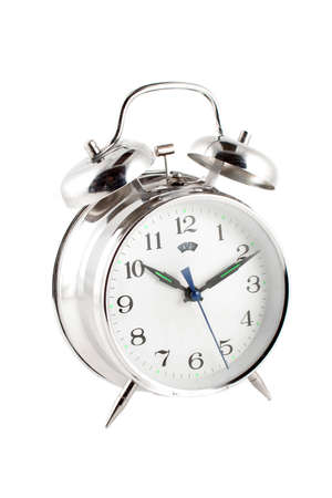 small alarm clock isolated on a white background 版權商用圖片