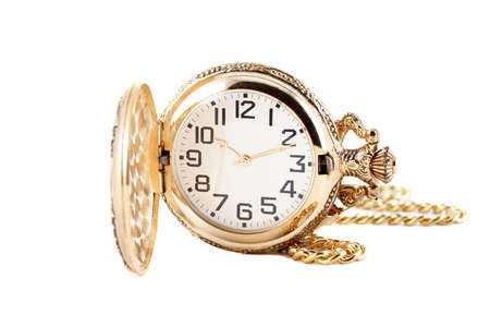 gold pocket watch with chain isolated on a white background