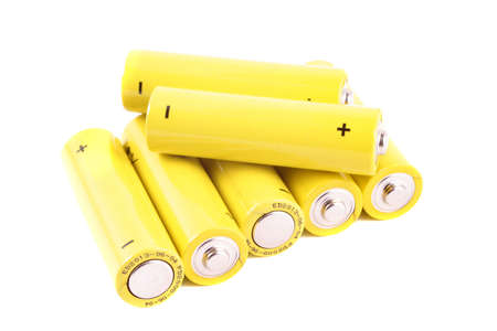 batteries showing the positive and negative signs on a white background