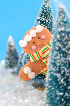 winter scene in glitter, gingerbread man is playing hide and go seek or peeking from behind the trees