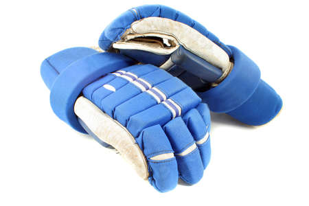 padding: professional protective hockey gloves protecting hands and fingers on a white background