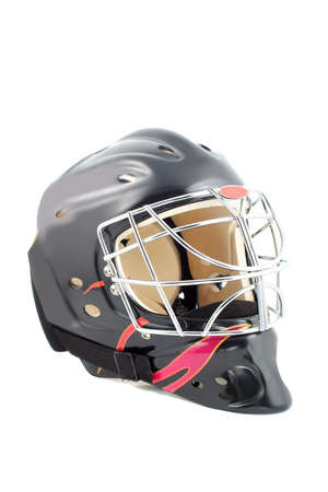 padding: black and red isolated hockey goalie mask