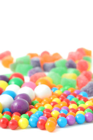 different colorful candy  on a white background