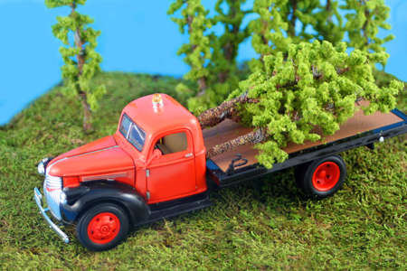 logging industry: miniature truck with cut down trees in the back for the logging industry