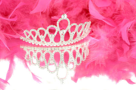 sparkling tiara with reflection and pink boa in background