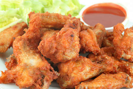 chicken wings with hot spicy barbecue sauce Stock Photo