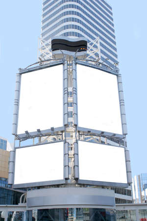 giant blank billboards in a big city for advertising