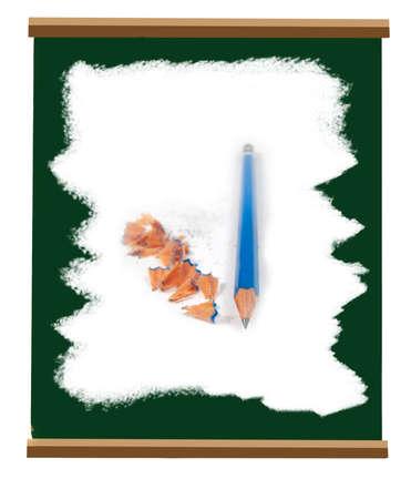 学校の緑のスレート板と鉛筆の削りくず白いチョークで白くしました。
