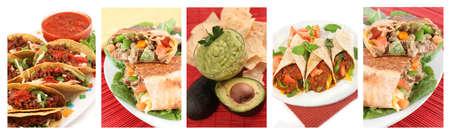 プレート: 異なるタコス、ナチョス、ワカモレ、ブリトー、ファヒータのような様々 なメキシコ料理のイメージ