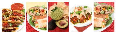different images of various Mexican food dishes like burritos, tacos,nachos,guacamole, and fajitas Stockfoto
