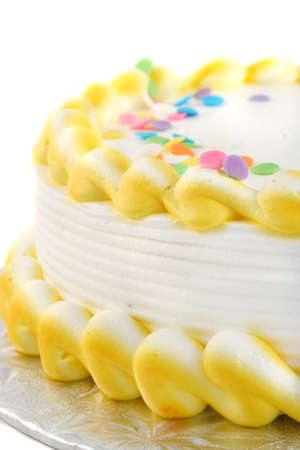 celebratory event: closeup of frosted festive cake great for any occasion like a birthday