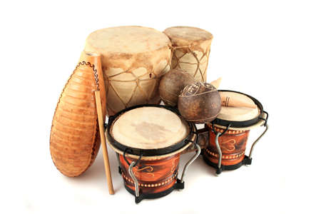 Latin rhythm percussion instruments like  on a white background